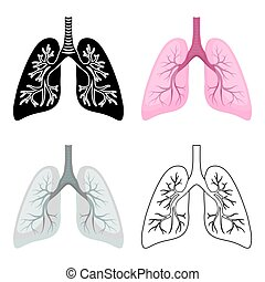 Lungs icon in cartoon style isolated on white background. Organs symbol stock vector illustration.