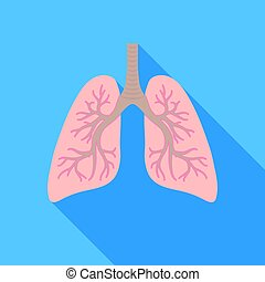 Lungs icon in flat style isolated on white background. Organs symbol stock vector illustration.