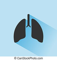 Lungs icon with shade on blue background