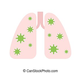 Lungs infected with coronavirus. Virus causing pneumonia. 2019-nCov coronavirus epidemic. Flat vector illustration, isolated on white background.