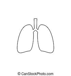 Lungs line icon. Human internal organ. Simple black vector ...