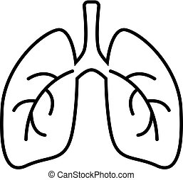 Lungs simple line icon