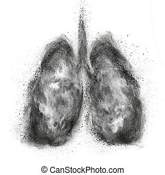 Lungs made of black powder explosion isolated on white...
