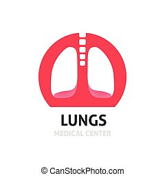 Lungs medical diagnostic center vector logo template, clinic symbol