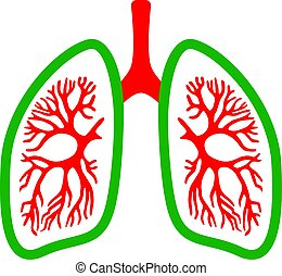 Lungs medical vector icon isolated on white background