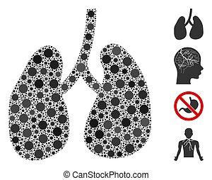 Lungs Mosaic of Corona Virus Items