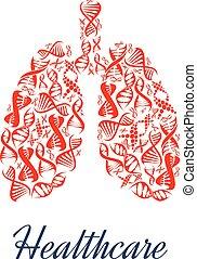 Lungs organ healthcare dna vector symbol