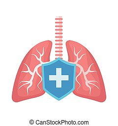 lungs organs human anatomy with shield vector illustration ...