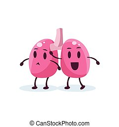 Lungs Primitive Style Cartoon Character