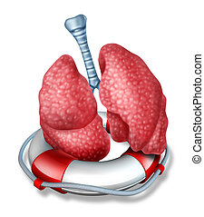 Lungs Rescue - Lungs rescue medical health care concept with...