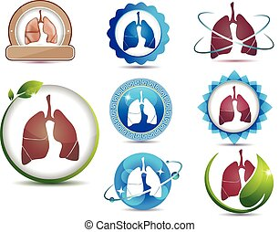 Lungs. Great collection of lungs symbols. Lungs health care concept. Bright and bold design.