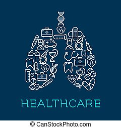 Lungs symbol created of medical, healthcare icons