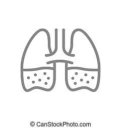 Lungs with phlegm line icon. Pleurisy, edema, pneumonia, ...