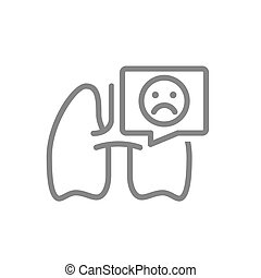 Lungs with sad face in speech bubble line icon. Diseases ...