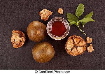 Luo Han Guo aka Monk fruit natural remedy on black...