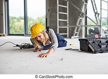 luogo., costruzione, donna, lavoratore, incidente