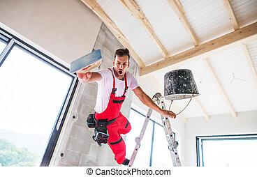 luogo., costruzione, incidente, lavoratore, uomo