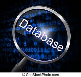 lupa, bases de datos, representa, buscando, ampliación, y,...