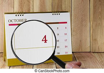 lupa, en, entregue, calendario, usted, lata, mirada, cuarto,...
