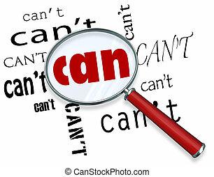 lupa, en, palabra, lata, vs., can't, actitud positiva