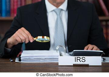 lupa, tabla, documentos, examinar, auditor