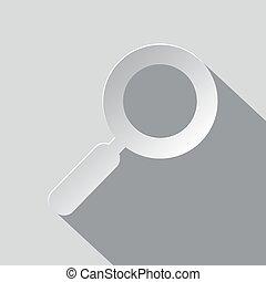 lupe, -, abbildung, papier, glas, vektor, vergrößern