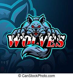 lupi, disegno, logotipo, mascotte, esport