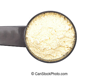 Lupin flour in measuring spoon on white background