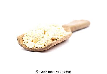 Lupin flour on wooden shovel