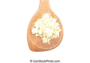 Lupin flour on wooden spoon on white background