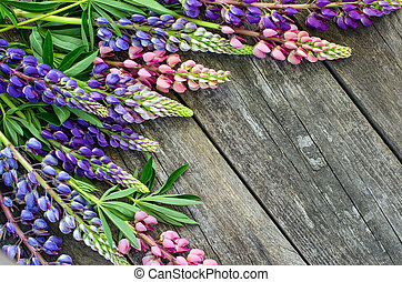 Lupin flowers on the old boards. The view from the top. -...