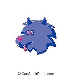 lupo, arrabbiato, sfondo bianco, testa