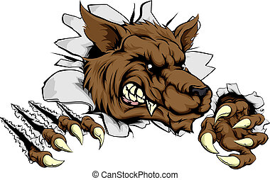 lupo, artigliare, o, attraverso, lupo mannaro