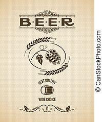 luppoli, vendemmia, birra, disegno, fondo