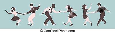 luppolo, ballo, lindy, silhouette, couples, tre