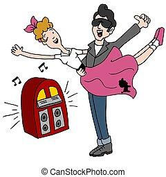 luppolo calzino, rock and roll, anni cinquanta, ballo, coppia