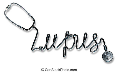 Lupus disease medical health care concept as a stethoscope shaped as a written font representing a diagnosis or treatment for autoimmune disease symptoms on a white background.