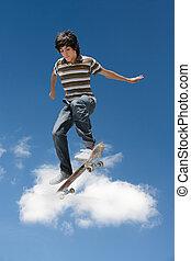 lura, utföre, skateboard, man