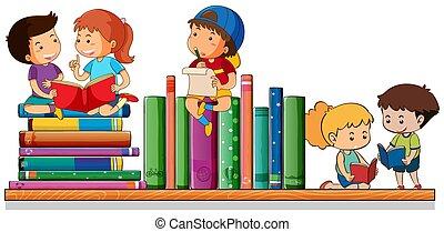 lurar, böcker, läsning, leka