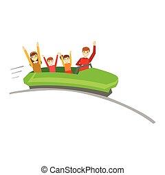 lurar, familj, förälder, rida, tillsammans, parkera, bra, illustration, rollercoaster, tid, ha, nöje, lycklig