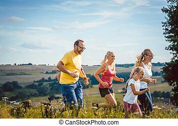 lurar, familj, fader, spring, mor, sport