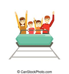 lurar, familj, tagande, parkera, tillsammans, bra, föräldrar, illustration, tid, lycklig, ha, nöje rid