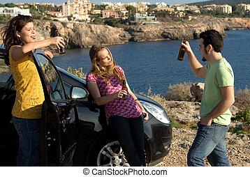 lurar, festa, alkohol, bil, omyndig, utomhus, drickande