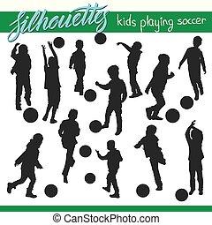 lurar, fotboll, silhouettes, vektor, fotboll, leka