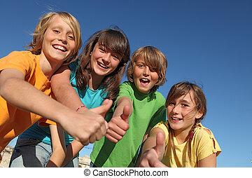 lurar, grupp, uppe, eller, tummar, le, barn
