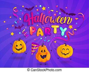 lurar, halloween, banner., parti