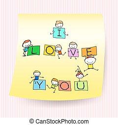 lurar, kärlek, märke, tecken, hand, anteckna, ord, teckning, lycklig