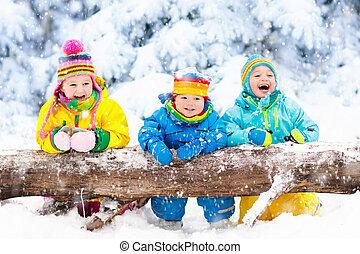 lurar, leka, in, snow., barn, lek, utomhus, in, vinter,...