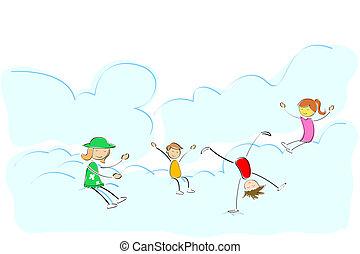 lurar, leka, på, moln