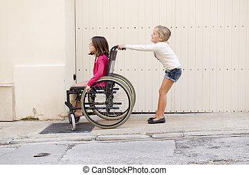 lurar, med, rullstol